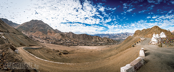 Looking back at Leh on the climb to the top of the Khardungla Pass. Notice the chortens on the right of the photo
