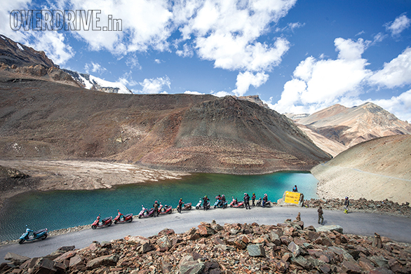 TVS Himalayan Highs Season 2 participants take a break at Suraj/Deepak Taal just meteres from the Baralachla pass