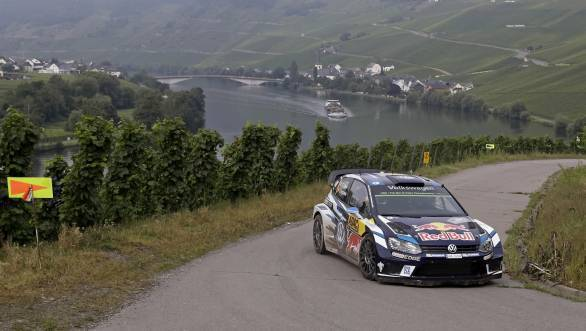 Sebastien Ogier and navigator Julien Ingrassia on their way to victory at Rally Germany