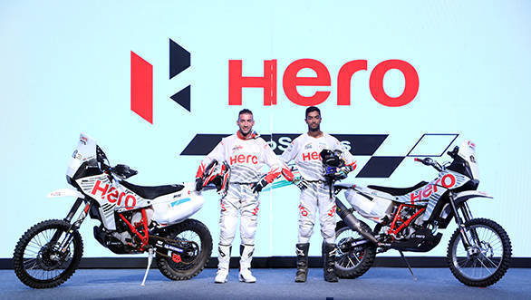 1.Hero MotoSports Team Rally riders - CS Santosh and Joaquim Rodrigues at the team introduction at Hero CIT in Jaipur today