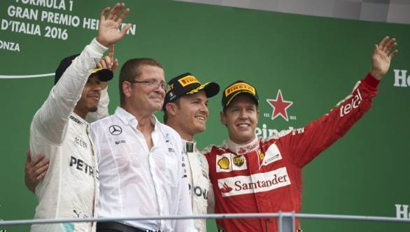 Hamilton, Rosberg and Vettel on the podium at the 2016 Italian GP at Monza