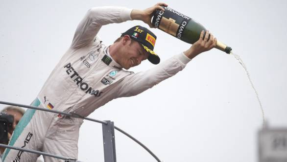 Nico Rosberg celebrates his win at the 2016 Italian GP at Monza