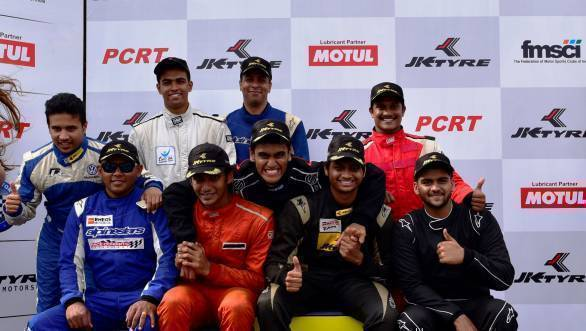 All the winners in various categories of racing on the podium at Round 2 of the 2016 JK Racing Championship