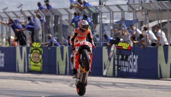 Marc Marquez celebrates his win at Aragon