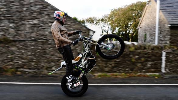 Dougie Lampkin of England during his attempt to wheelie the entire Snaefell Mountain Course on - width=