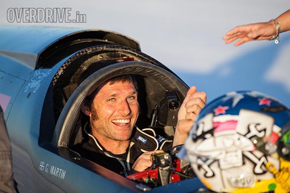 Guy Martin in the Triumph Infor Rocket Streamliner