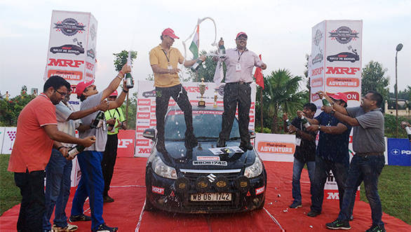 MRF Rally de Bengal winners at the champagne shower
