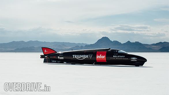 Triumph Infor Rocket Streamline on Bonneville Salt Flats
