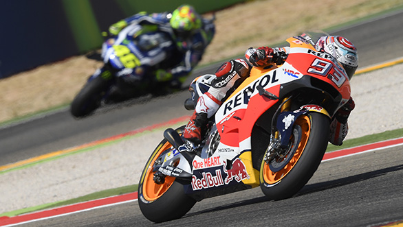 Round 14: With the gap in championship points between Marquez and Rossi closing in, the pressure was starting to build. After starting from pole, Marquez had to fight hard against Maverick Viñales and Lorenzo to hold the lead. A small error on Lap 3, which almost ended his race, pushed him down to seventh. However, by Lap 12, Marquez managed to take the lead which he held till the chequered flag