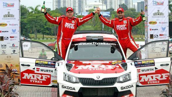2016 Asia Pacific Rally Champions - Gaurav Gill and Glenn Macneall celebrate their win at Johor Bahru
