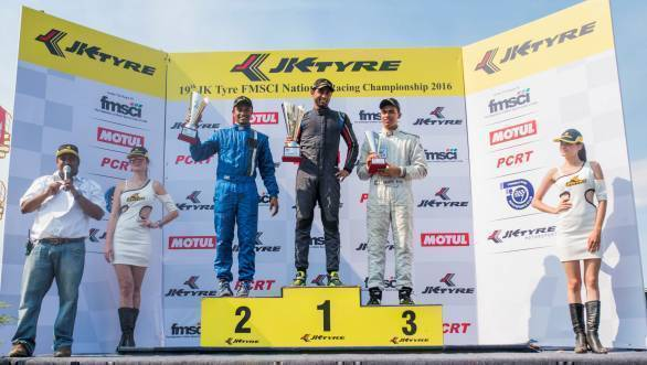 From left: Karthik Tharani, Anindith Reddy and Ananth Shanmugham on the podium for the JK Euro16 race