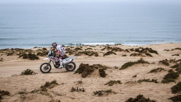 Joaquim Rodrigues astride the Hero MotoSports Team's Speedbrain 450 at the first Special Stage of Rally Morocco