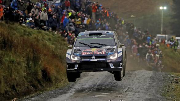 Sebastien Ogier and Julien Ingrassia on their way to victory at the 2016 Wales Rally GB