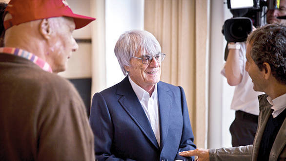 Bernie Ecclestone talks to Niki Lauda and Alain Prost prior to F1 world champ dinner at Steirerschlössl in Austria during Austrian GP in Spielberg 19 June 2015 // Henner Thies / Red Bull Content Pool // P-20150621-00545 // Usage for editorial use only // Please go to www.redbullcontentpool.com for further information. //