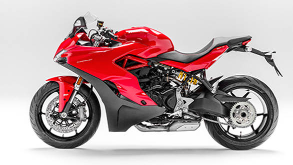 Look closely and you can see the steel trellis frame unlike the monocoque from the Panigales