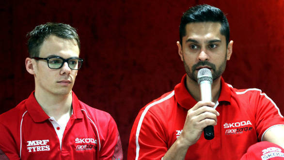 Gaurav Gill (right) and Fabian Kreim of Team MRF at the pre-event Press Conference (Oct 28)