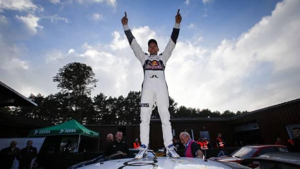Ekström celebrates his championship win at Buxtehude