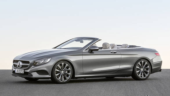 Mercedes-Benz S-Klasse Cabrio, S 500, Selenitgrau, Interieur: Leder porzellan/tiefseeblau ; Mercedes-Benz S-Class Cabriolet, S 500, selenit grey, interior: leather porcelain/deep-sea blue;