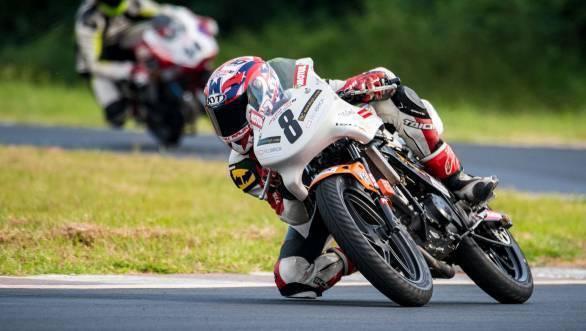 Rajiv Sethu of Honda Ten10 Racing leads the Pro Stock 165cc championship