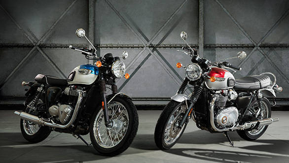 The T100 is the smaller brother of the T120 and takes forward the classis, retro styling of the Bonnevilles