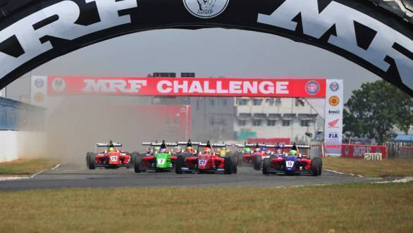 Pietro Fittipaldi leading the pack during a 2015 MRF Challenge race at the MMRT