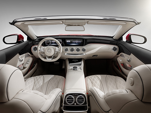 Mercedes-Maybach S 650 Cabriolet, Interior, Fluss der Linien, Rautensteppung; Kraftstoffverbrauch kombiniert: 12,0 l/100 km; CO2-Emissionen kombiniert: 272 g/km // Mercedes-Maybach S 650 Cabriolet, interior , flowing lines, outer diamond quilting; Fuel consumption combined: 12,0 l/100 km; Combined CO2 emissions: 272 g/km