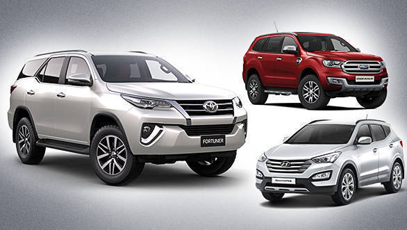 Spec comparo: Toyota Fortuner vs Ford Endeavour vs Hyundai Santa Fe