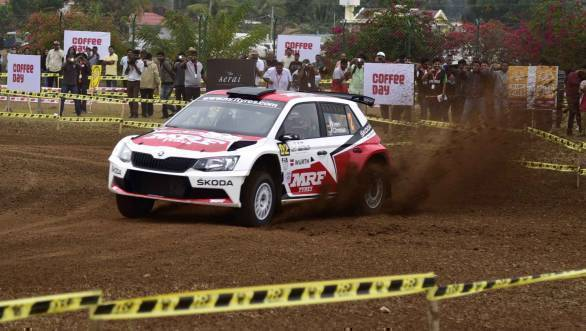 Team MRF Skoda's Fabian Kreim topped the timing sheet at the SSS at Chikmagalur