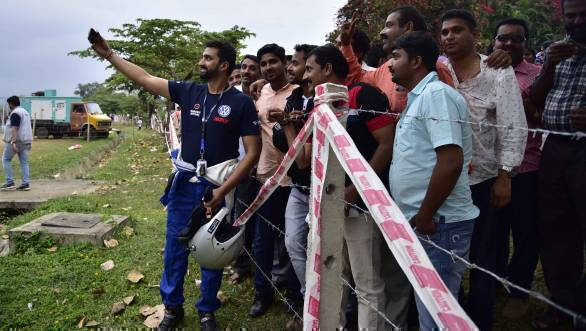 Rather popular here in Chikmagalur - Arjun Rao Aroor poses for a selfie with the fans