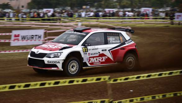 Reigning APRC champion Gaurav Gill at the SSS at the India Rally