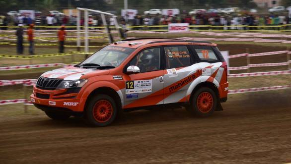 Team Mahindra Adventure's Amittrajit Ghosh on his way to topping the time-sheets in the MRF FMSCI IRC at the SSS