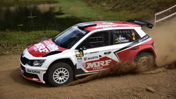 Fabian Kreim and co-driver Frank Christian at the Jagarmane stages at the Chikmagalur Rally
