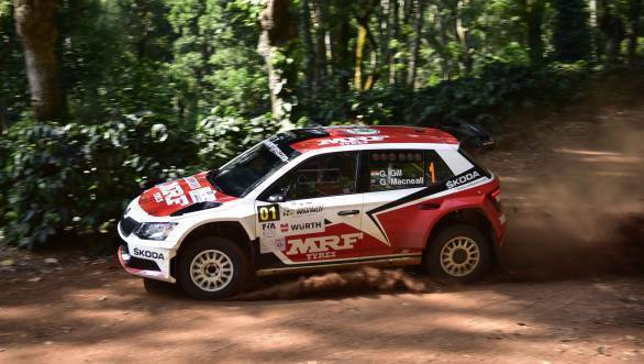 Team MRF Skoda's Gaurav Gill and Glenn Macneall at the Chandrapura stage of the APRC India Rally at Chikmagalur