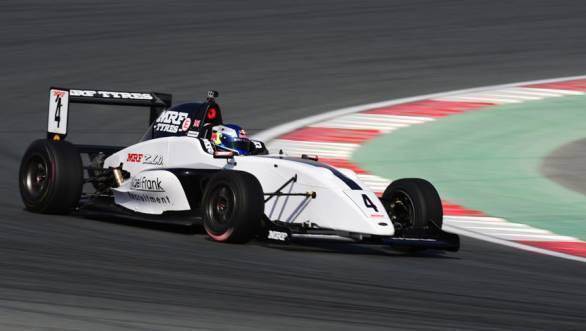 Harrison Newey set the pace early on at the Dubai Autodrome at round 2 of the MRF Challenge 2016