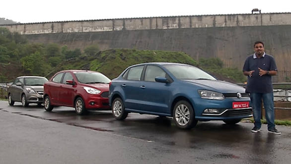 Volkswagen Ameo v Ford Figo Aspire v Maruti Suzuki Swift Dzire - Video