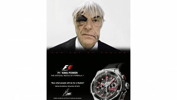 Bernie Ecclestone's Hublot ad, where he sports an actual shiner, after having been mugged in London