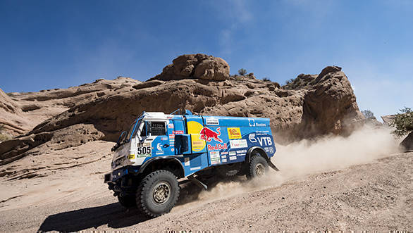 Eduard Nikolaev (RUS) of Team KAMAZ-Master races during stage 10 of Rally Dakar 2017 from Chilecito to San Juan, Argentina on January 12, 2017 // Marcelo Maragni/Red Bull Content Pool // P-20170112-00484 // Usage for editorial use only // Please go to www.redbullcontentpool.com for further information. //
