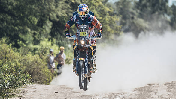 Red Bull KTM's Toby Price took the lead in the Bike category after winning the stage by 3m51s