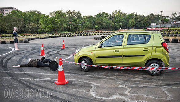 The cars not equipped with ABS like the Nano, Alto 800 and the Kwid failed this test because we were not able to change lanes