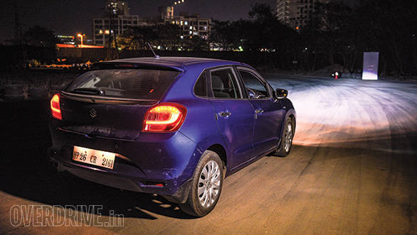 The Baleno, even with its bi-xenon headlights, couldn't match the Jazz headlights