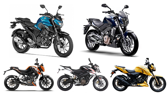 Spec comparo: Yamaha FZ25 vs KTM 200 Duke vs TVS Apache RTR 200 4v vs Bajaj Dominar 400 vs Bajaj 200 NS