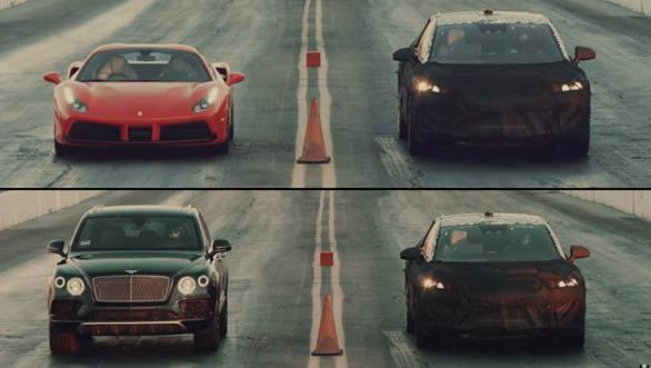 Video worth watching: Faraday Future FF prototype drag races with Bentayga, Ferrari 488 GTB and Tesla Model X