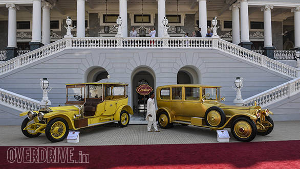 11- The Nizam's 1912 Rolls-Royce Throne Limousine and the 1919 gold plated Daimler of Sir Seth Hukumchand Family were displayed in the Exhibition Class