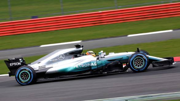 The Mercedes-AMG F1 W08 features a smaller version of the shark-fin engine cover