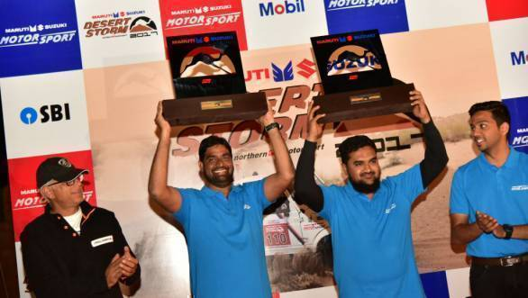 Ali Ajgar and Mohammed Musthafa from Team Maruti Suzuki win the Xplore A category trophy