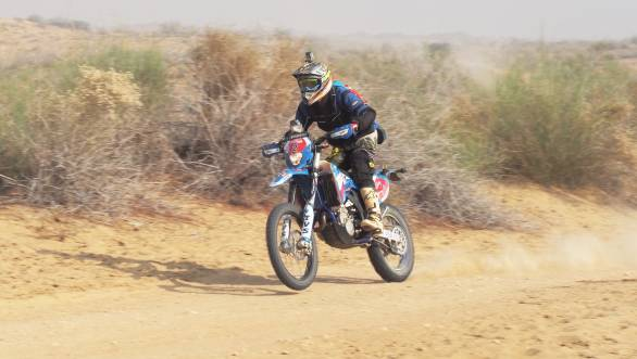 TVS Racing's R Nataraj took victory in the Moto class of the 2017 Desert Storm