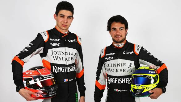 (L to R): Esteban Ocon (FRA) Sahara Force India F1 Team with team mate Sergio Perez (MEX) Sahara Force India F1. Sahara Force India F1 Team Studio Shoot, Monday 21st February 2017. Silverstone, England.