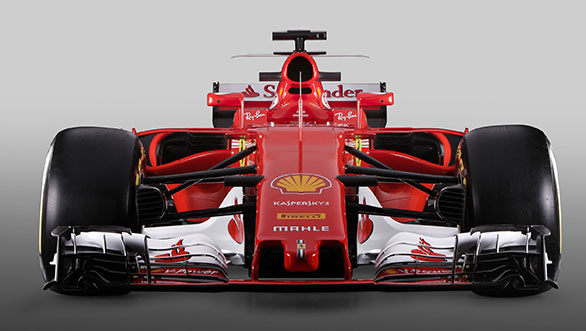 The 2017 Ferrari SF70H with extra wings on the top of the engine cover