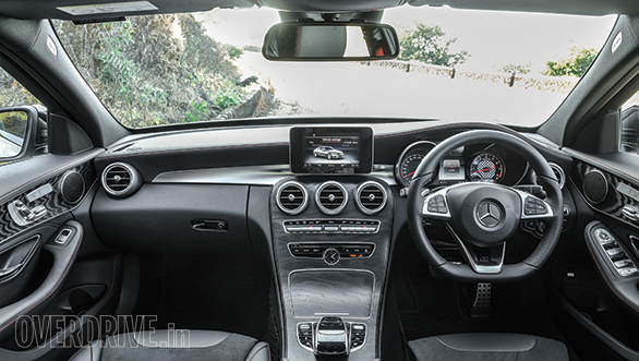 Classy C-Class cabin is a wonderful place to be in. The C 43 gets some differentiators like the red stitching and red seat belts