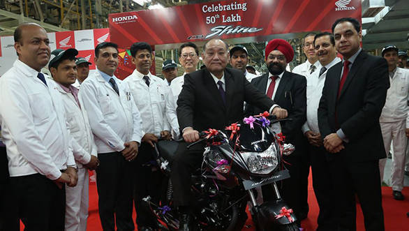 Mr. Keita Muramatsu, President & CEO, HMSI, celebrating the launch of al...